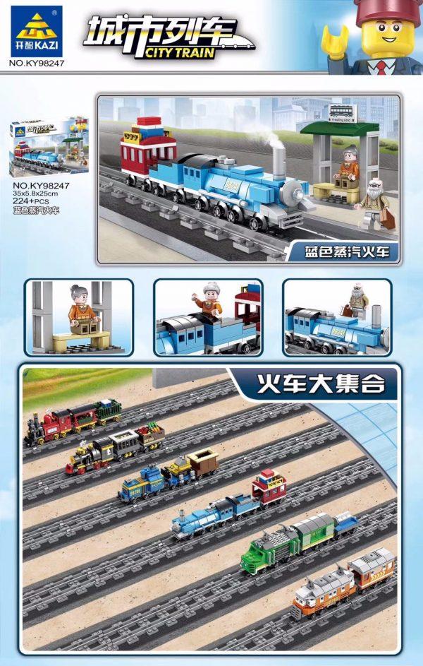 KAZI / GBL / BOZHI KY98247 City Train: Blue Steam Train (Small) 0