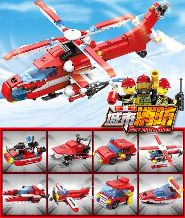 KAZI / GBL / BOZHI KY80514-6 Urban Fire: Heavy Fire Helicopter 8IN1 8 Fit 1