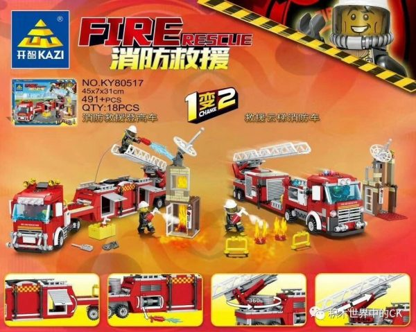 KAZI / GBL / BOZHI KY80517 Fire and Rescue: Fire and Rescue High Car, Rescue Ladder Fire Truck 1 Change 2 1