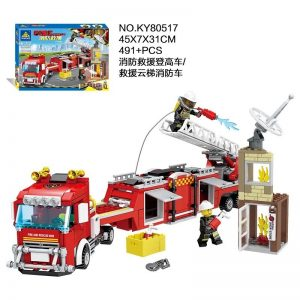 KAZI / GBL / BOZHI KY80517 Fire and Rescue: Fire and Rescue High Car, Rescue Ladder Fire Truck 1 Change 2 0