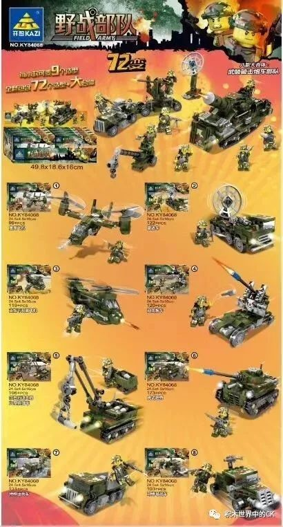 KAZI / GBL / BOZHI KY84068 Field Forces: Armed Mortar Force 8 Large Bodies 72 Changes 0