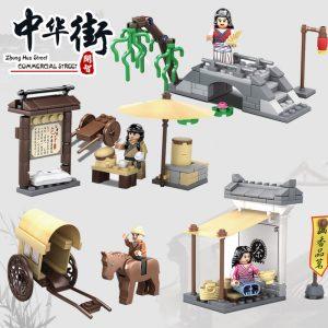 KAZI / GBL / BOZHI KY5007 China Street: Commercial Street People's Small Scene four sets of big man bun shop, freight carriage, Yang Liuqiao, Ming Xiang tea shop 0