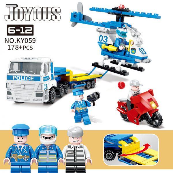 KAZI / GBL / BOZHI KY059 Smart Police: Helicopter transport police car 0